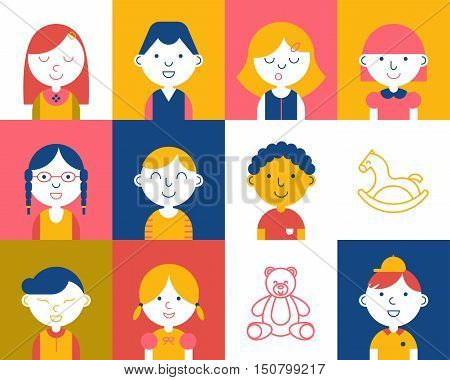 Kids of different races colorful flat vector avatars set icon. Children characters profile pictures. Portrait infographic cartoon elements. Thin line style design