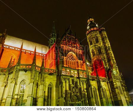 The St. Elisabeth Cathedral in Kosice, Slovakia at night