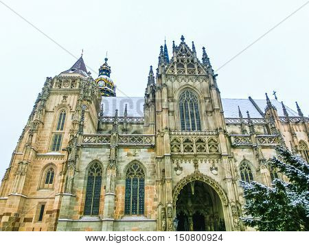 The St. Elisabeth Cathedral in Kosice, Slovakia at winter