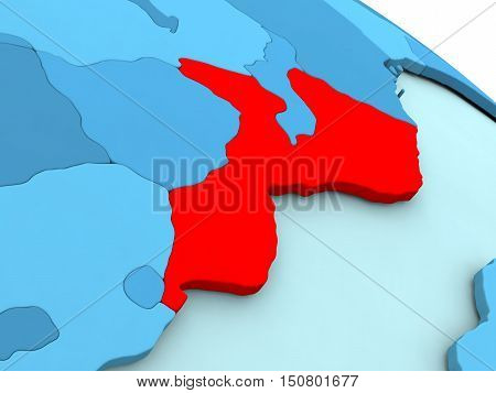 Mozambique In Red On Blue Globe