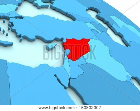Syria In Red On Blue Globe
