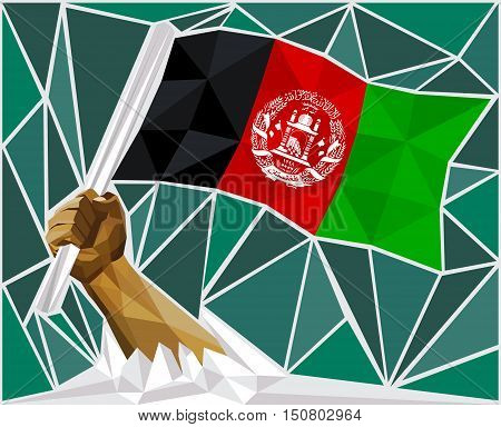 Strong Hand Raising The Flag Of Afghanistan