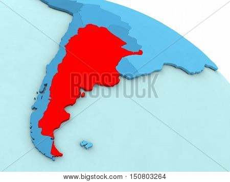 Argentina In Red On Blue Globe