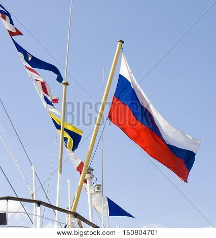 VARNA BULGARIA - OCTOBER 1 2016: opening of Black Sea Tall Ships Regatta Russian flag on sailing ship in port of town Varna.