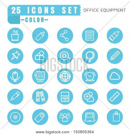 icons office equipment color thin white in the circle blue on white background