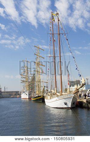 VARNA BULGARIA - OCTOBER 1 2016: opening of Black Sea Tall Ships Regatta sailing ships