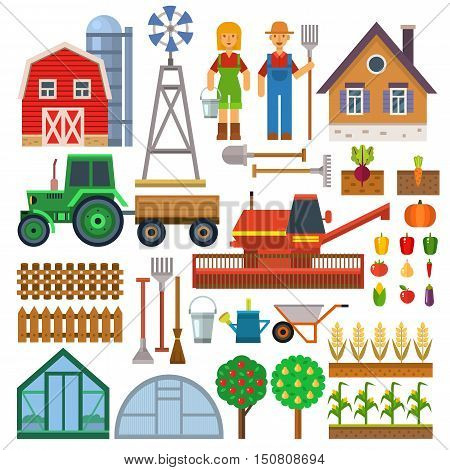Stock vector color pictogram farm icon set. Agriculture tractor wheat farmer nature design farm icons. Animal plant organic farm icons field sign corn farming collection silhouette.