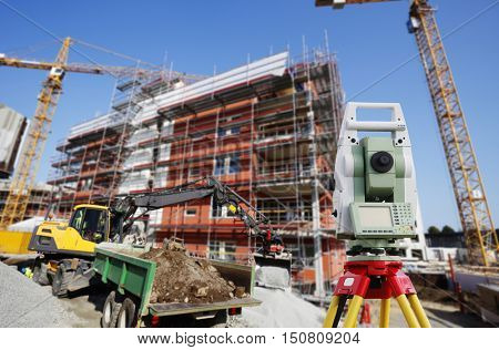 surveying instrument for measuring, levelling inside large construction industry