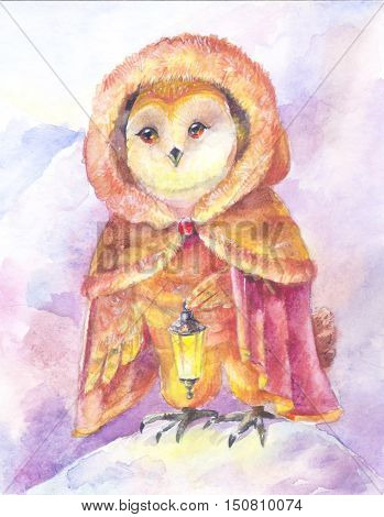 Owl with a lamp. Watercolor painting. Illustration with a magic character. Animal clothing. Bird in a fur coat. Poster for the children's room nursery children's products notebook covers bookmarks greeting cards.