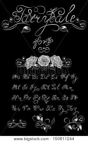 Silver, Fairytale, Vector hand drawn calligraphic font. Handmade calligraphy tattoo alphabet. Quote text. ABC.English lettering lowercase, uppercase. Script vintage handcrafted retro letters