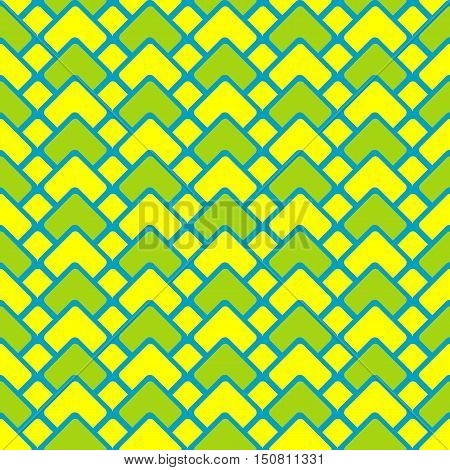 Vector Seamless Pattern With Triangels And Squares. Abstract Green, Blue And Yellow Backgraund