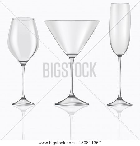3d realistic set of empty glasses goblets for martini, champagne, cocktails, wine isolated on white background. Stem ware for different drinks. Everything for the bar, restaurant and pub.
