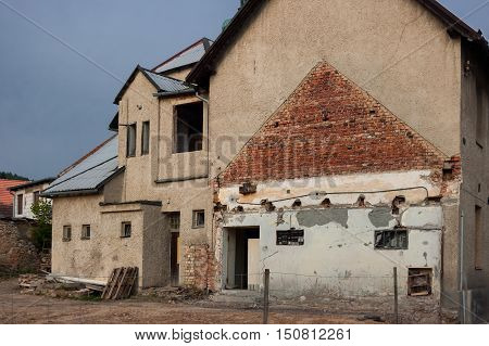The old dilapidated house intended for demolition.