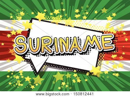 Suriname - Comic book style text on comic book abstract background.