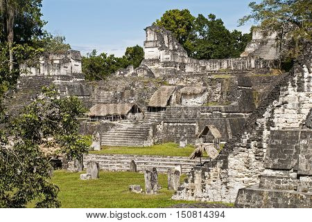 Maya North Acropolis in Tikal National Park Guatemala