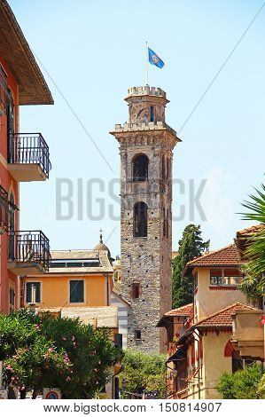 Rapallo old town and Torre Civica (civic tower), province of Genoa, Liguria, Italy