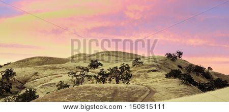 Vibrant Sunset of California Rolling Hills. Joseph D. Grant County Park, Santa Clara County, California, USA.