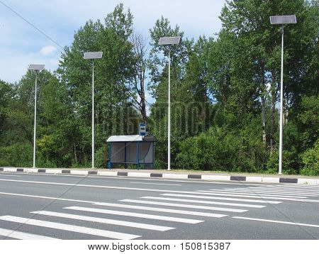 Independent lighting the bus stop with the use of solar panels