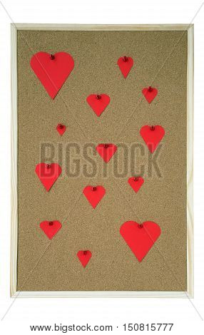 Pinboard with several hearts in different sizes