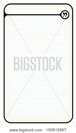 Black text box for your text with lined paper and quotation mark