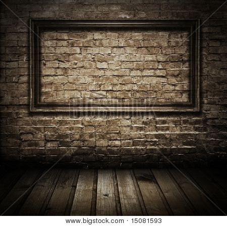 old grunge interior frame against wall