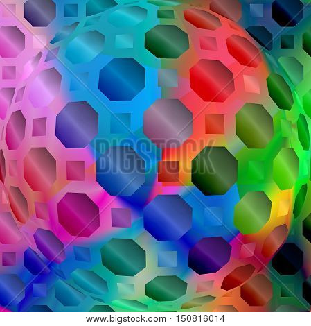 Abstract coloring background of the spectrum gradient with visual  mosaic, octagon, wave, spheres effects.