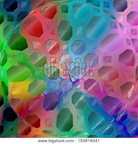 Abstract coloring background of the spectrum gradient with visual  mosaic, octagon, wave, spheres, pinch and plastic wrap effects.