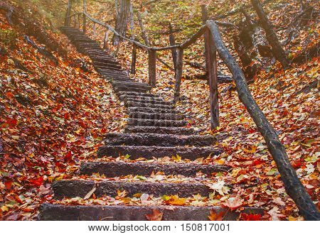 old staircase in the autumn forest in mountains