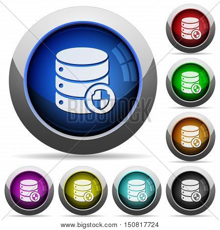 Set of round glossy Protect database buttons. Arranged layer structure.