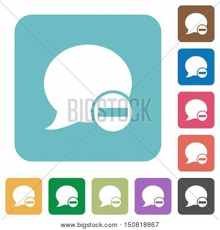 Flat Delete blog comment icons on rounded square color backgrounds.