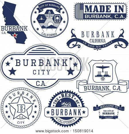 Generic Stamps And Signs Of Burbank City, Ca