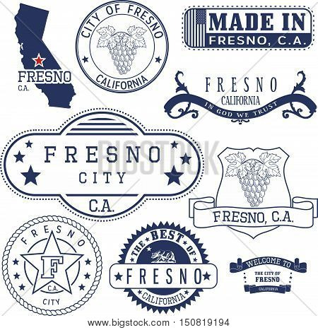 Generic Stamps And Signs Of Fresno City, Ca