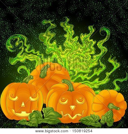 Halloween background design. Spooky halloween pumpkins on the magic foggy background. Vector illustration