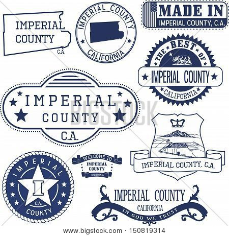Imperial County, Ca. Set Of Stamps And Signs