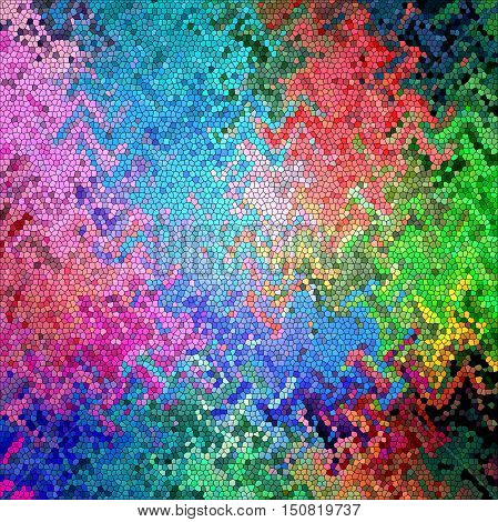 Abstract coloring background of the spectrum gradient with visual  mosaic, octagon, wave, spheres, wave and stained glass effects.