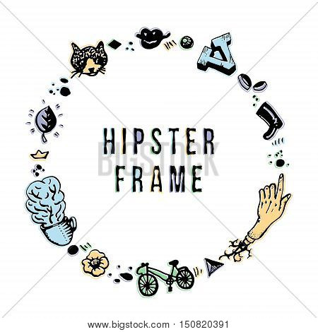 Hipster ink frame with offset printed colors. Perfect for posters greeting cards and invitations. Vintage and retro style.