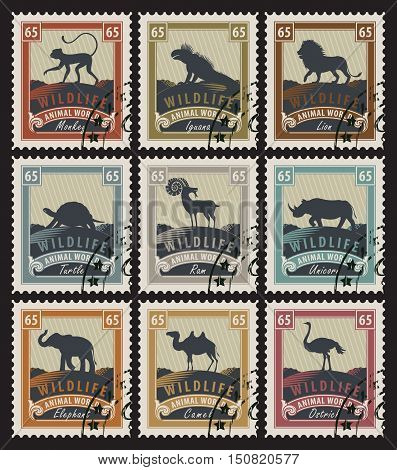set of stamps on the theme of wildlife with different animals