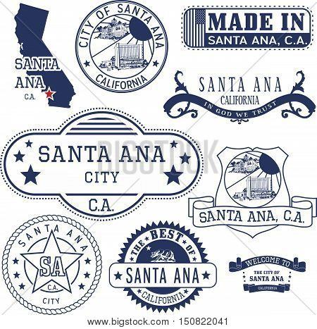 Santa Ana City, Ca. Stamps And Signs