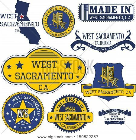 Generic Stamps And Signs Of West Sacramento City, Ca