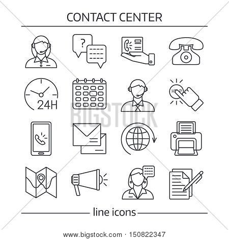 Isolated contact us in linear style icon set on theme of contact center vector illustration