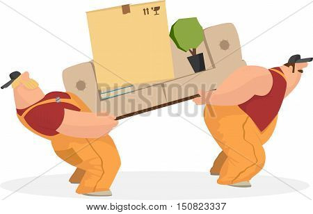 Two working men carry sofa, a box of things, the book indoor and rostenie. Delivery service