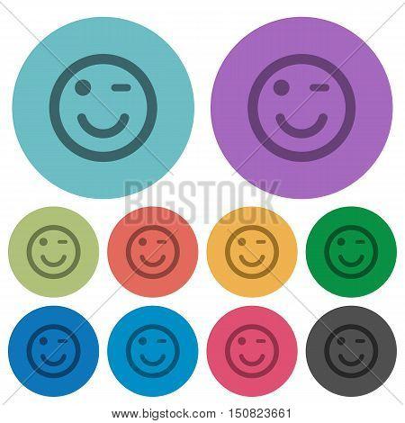 Color Winking emoticon flat icon set on round background.