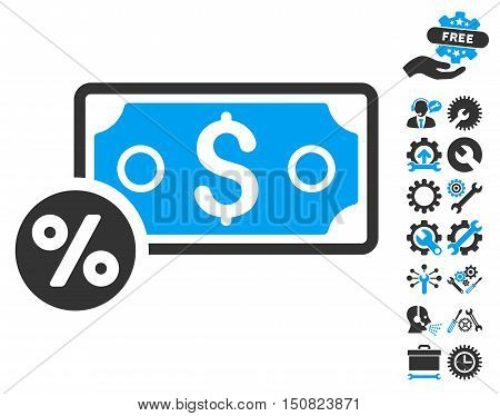 Banknote Percent pictograph with bonus tools symbols. Vector illustration style is flat iconic bicolor symbols, blue and gray colors, white background.