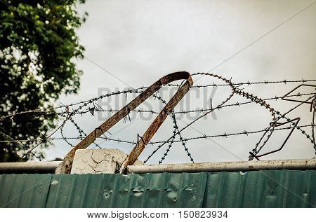 Barbed wire fence on prisons.Barbed wire fence on prisons. Prisoners prevent escape.