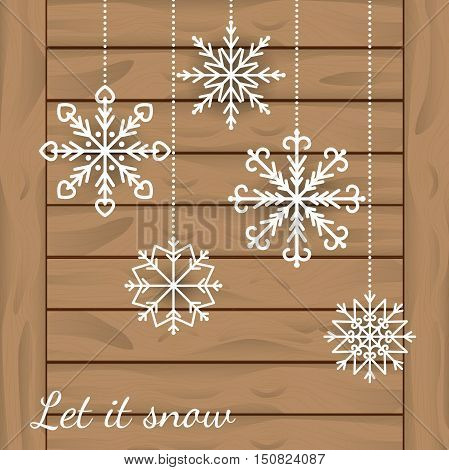 Abstract winter Background with white Snowflakes hanging on wooden planks. Christmas background with snowflakes and wooden texture. Vector illustration