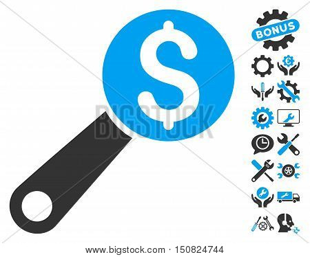 Financial Audit pictograph with bonus tools symbols. Vector illustration style is flat iconic bicolor symbols, blue and gray colors, white background.