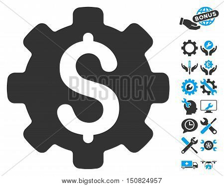 Industrial Capital icon with bonus tools images. Vector illustration style is flat iconic bicolor symbols, blue and gray colors, white background.