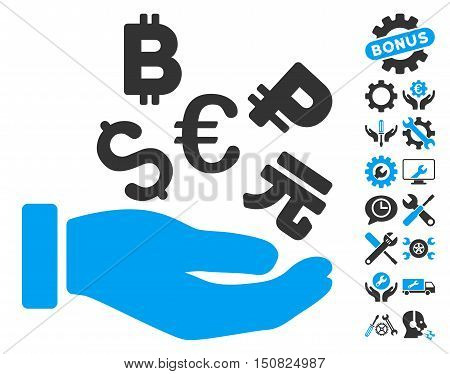 International Investment pictograph with bonus tools pictograph collection. Vector illustration style is flat iconic bicolor symbols, blue and gray colors, white background.