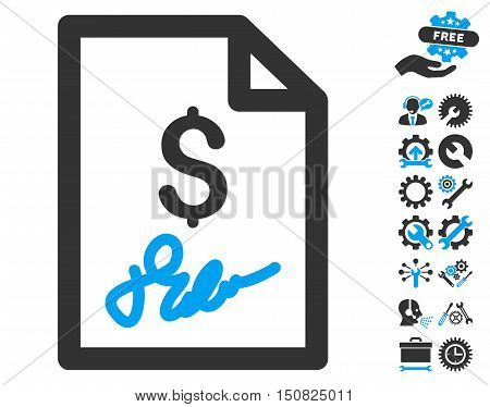 Invoice Page icon with bonus tools design elements. Vector illustration style is flat iconic bicolor symbols, blue and gray colors, white background.