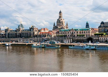 DRESDEN GERMANY- JUNE 20 2016: View of the Old Town with Elbe river embankment